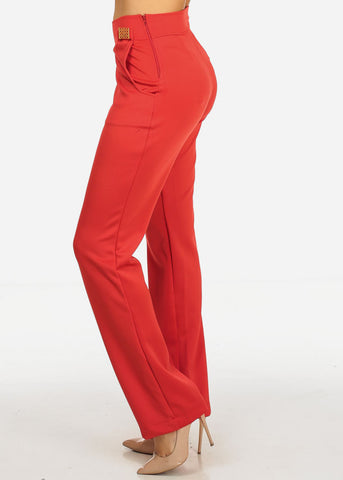 Image of Red 2-Pocket  Boot Cut Pants
