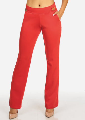 Red 2-Pocket  Boot Cut Pants