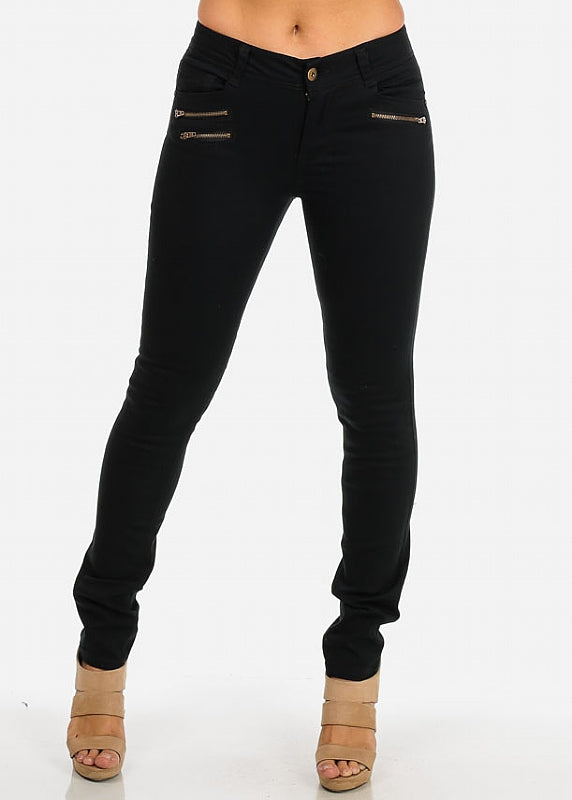 One-Button Skinny Twill Pants (Black)
