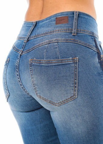 Image of Butt Lifting Blue Wash Skinny Jeans