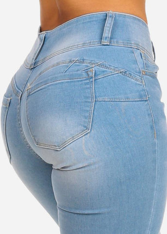 Butt Lifting Mid Rise Light Wash Skinny Jeans