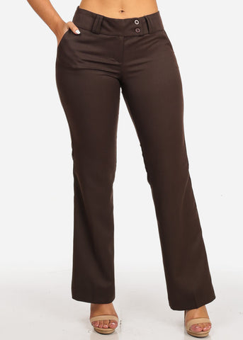 Mid Rise Straight Leg Pants