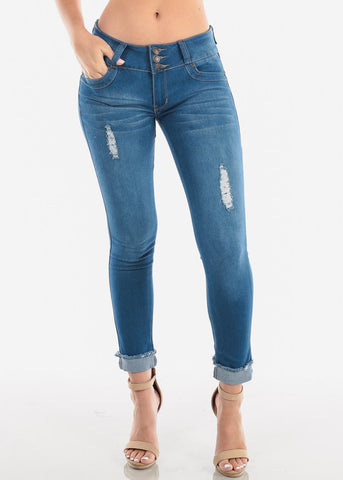 Women's Junior Ladies Trendy Levanta Cola Colombian Design Distressed Ripped Low Rise Med Wash 3 Button Ankle Skinny Jeans