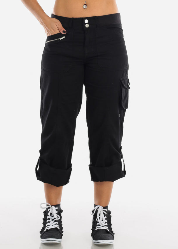 Roll Up Hem Black Cargo Pants