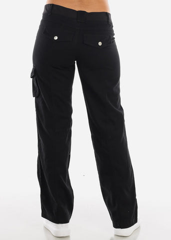 Image of Roll Up Hem Black Cargo Pants 9148BLK