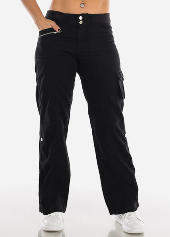Roll Up Hem Black Cargo Pants 9148BLK