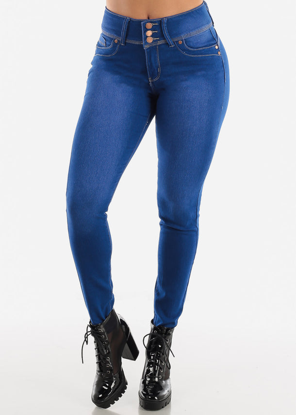 Butt Lifting High Rise Blue Wash Skinny Jeans
