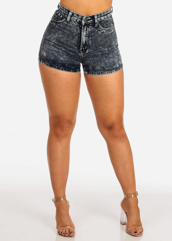 Women's Junior Ladies Sexy Must Have High Rise Acid Wash 1 Button Shorts