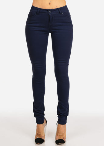 Image of Stylish Low Rise 1 Button Navy Skinny Jeans