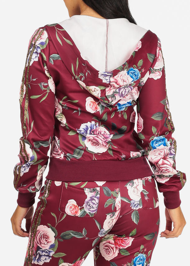 Floral Burgundy Sweater W Hood