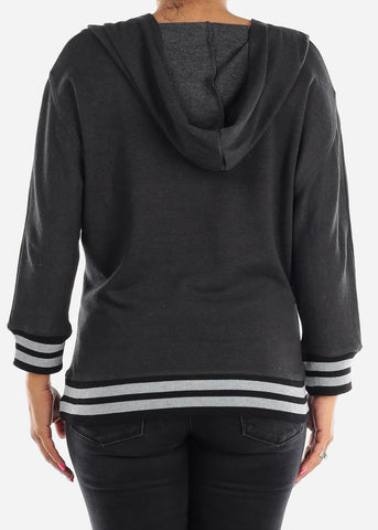 3/4 Sleeve Charcoal Pullover Sweatshirt