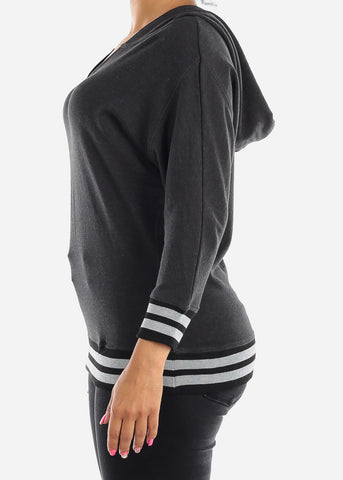 Image of 3/4 Sleeve Charcoal Pullover Sweatshirt