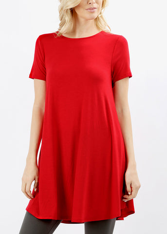 Round Hem Flared Ruby Tunic Top