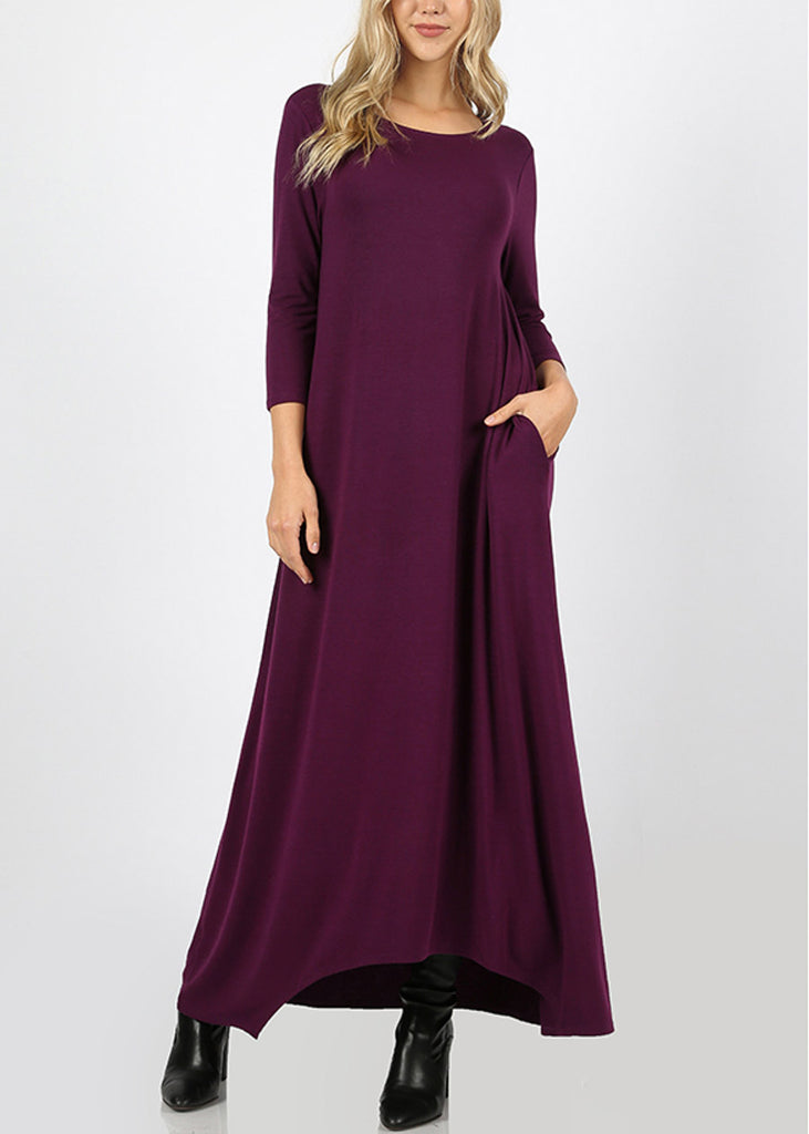 Asymmetrical Hem Plum Maxi Dress