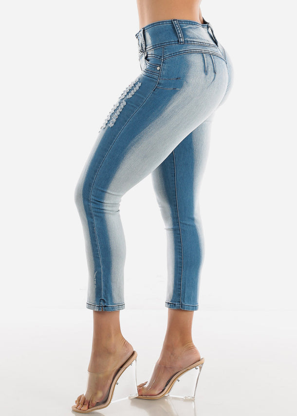 Butt Lifting Light Wash Ripped Skinny Ankle Jeans