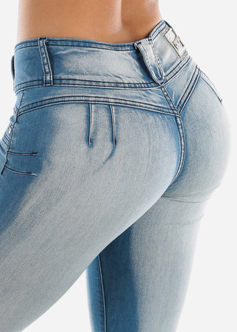 Image of Butt Lifting Light Wash Ripped Skinny Ankle Jeans