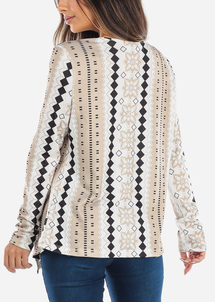 Beige Diamond Floral Cardigan