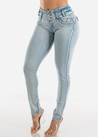 Butt Lifting Light Wash Skinny Jeans