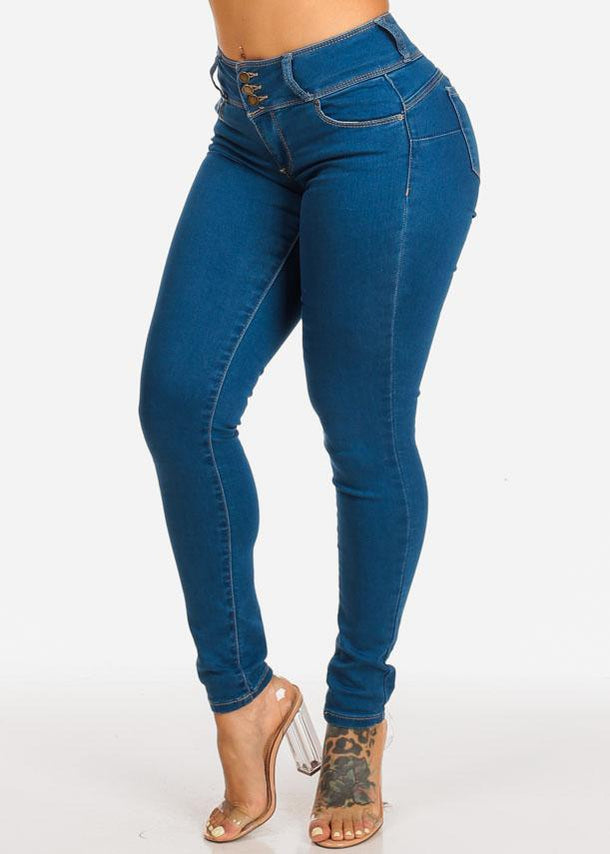 Med High Rise Butt Lifting Skinny Jeans