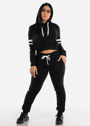 Fleece Black Hoodie & Jogger Sweatpants (2 PCE SET)