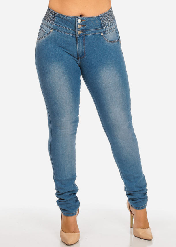 Ruched Waist Skinny Jeans