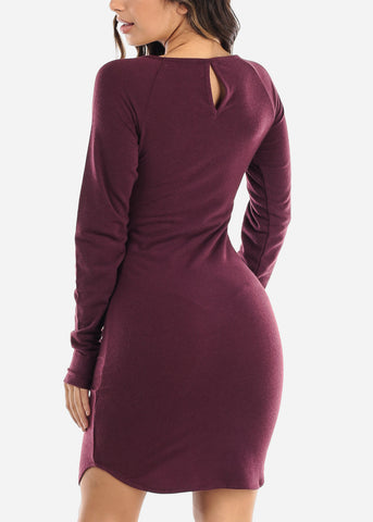Casual Long Sleeve Purple Dress