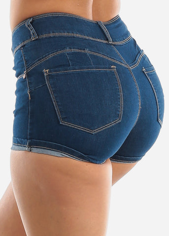 Mid Rise Butt Lifting Denim Shorts
