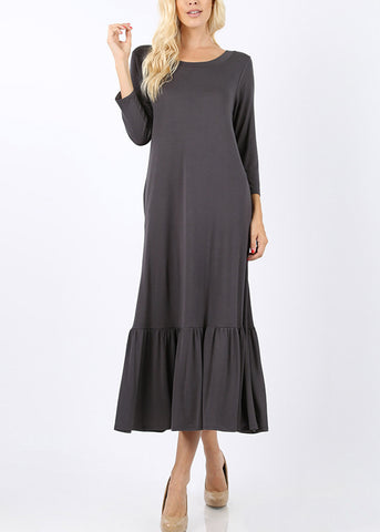 Ruffle Hem Grey Maxi Dress