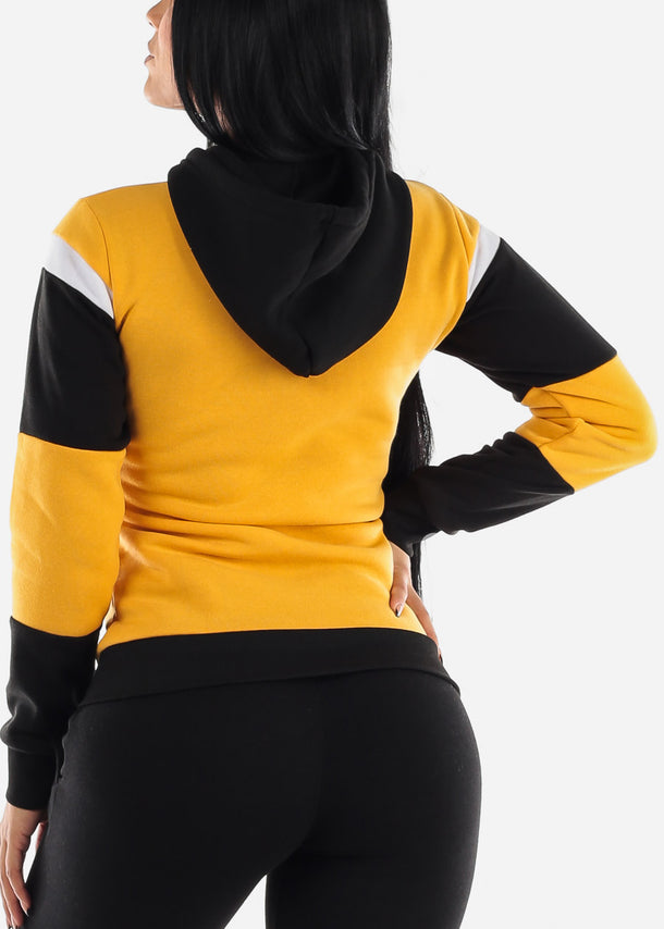 Yellow Colorblock Pullover Hoodie