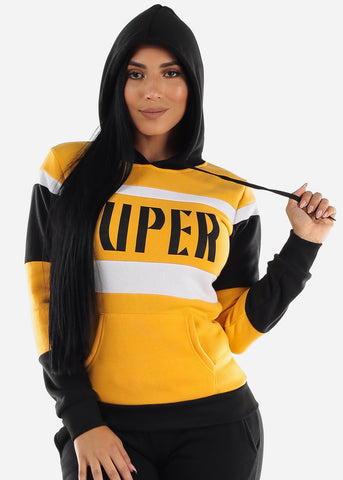 "Image of Yellow Colorblock Pullover Hoodie ""Super"""