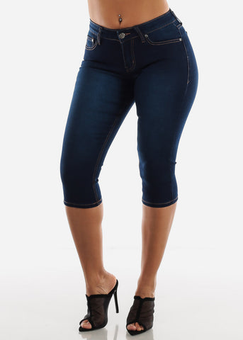 Image of Mid Rise Dark Wash Denim Capris