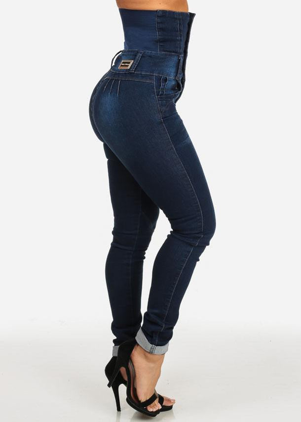 Dark Wash Butt Lifting Ultra High Waist Skinny Jeans