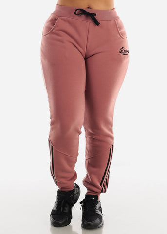 Image of Brick Fleece Full Zip Up Hoodie & Jogger Sweatpants ( 2 PCE SET)