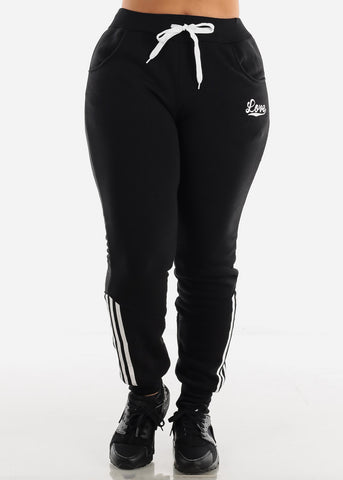 Black Fleece Full Zip Up Hoodie & Jogger Sweatpants ( 2 PCE SET)