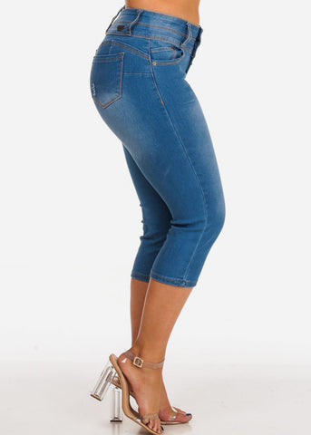 Women's Junior Ladies Casual Must Have Stretchy 2 Button Med Wash Levanta Cola Colombian Design Capri