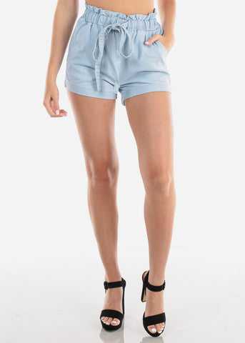 Women's Junior Ladies Summer Vacation Beach Lightweight High Waisted Pull On Light Wash Denim Style Short With Drawstring Waist