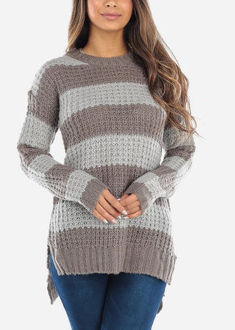 Grey Striped Crochet Knit Sweater