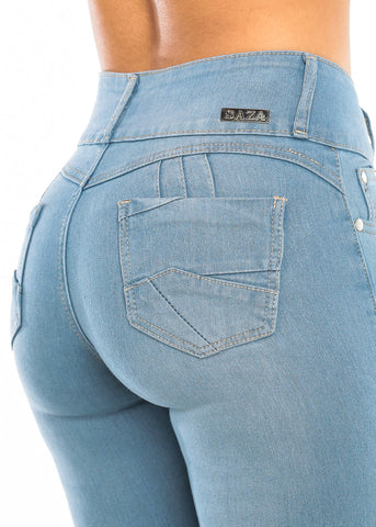 Light Wash Butt Lifting Skinny Jeans