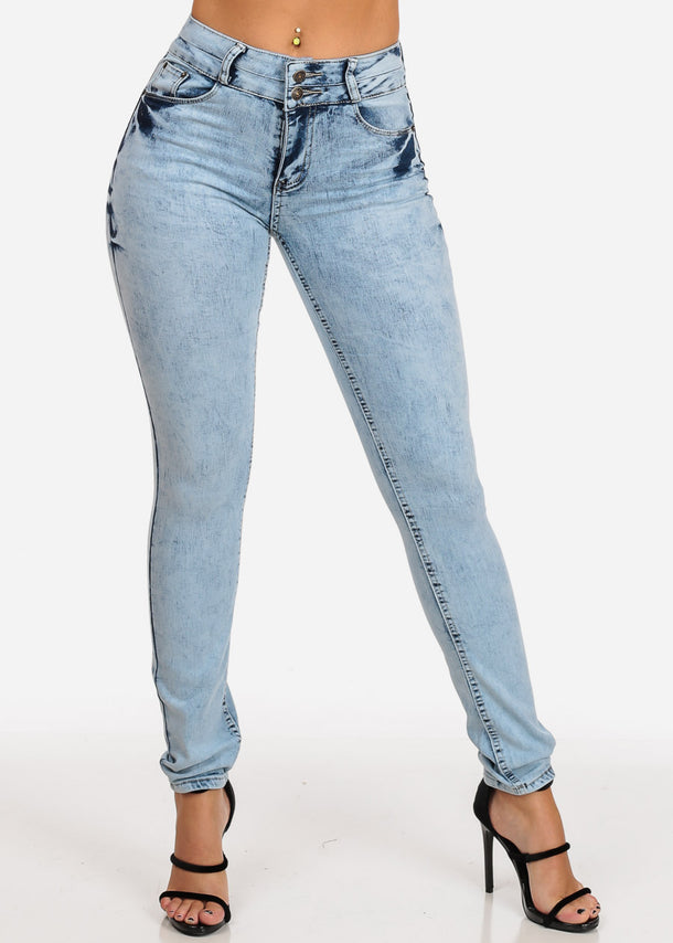 Butt Lifting Light Marble Wash Skinny Jeans