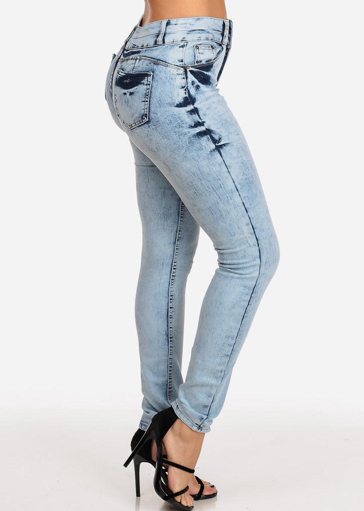 Women's Junior Ladies 2 Button Mid Rise Light Marble Wash Skinny Jeans