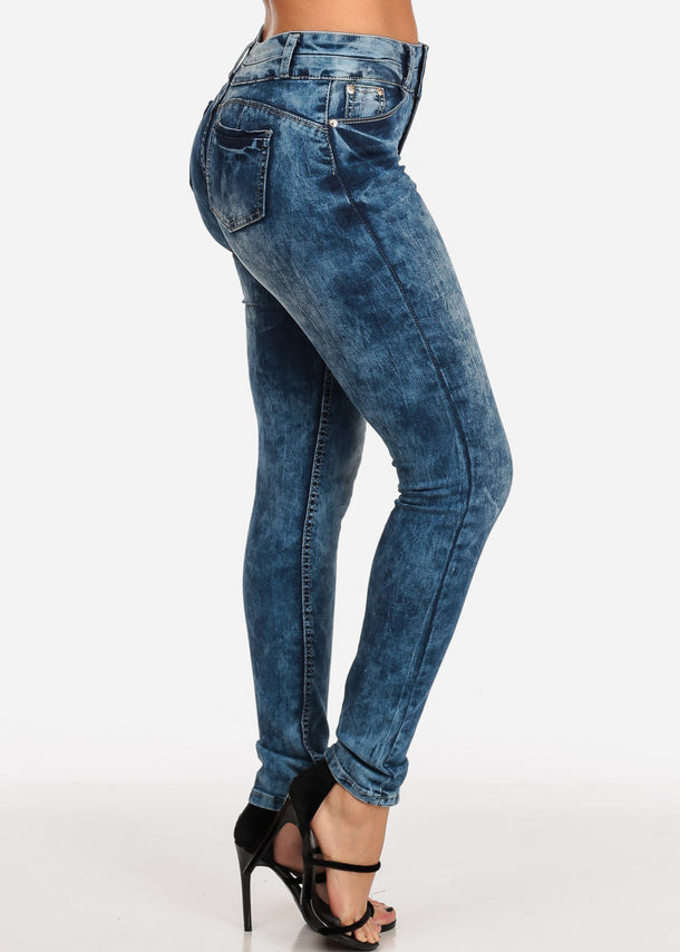 Butt Lifting Med Marble Wash Skinny Stretchy Jeans