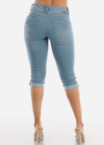 Image of Levanta Cola Light Wash Ripped Denim Capris