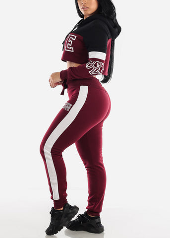 "Burgundy Cropped Hoodie & Jogger Sweatpants ""Love"" (2 PCE SET)"