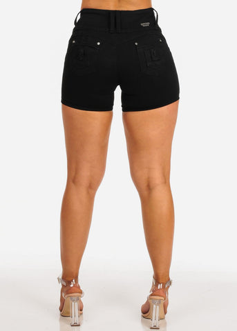 Image of Women's Junior ladies High Waisted Sexy Butt Lifting Distressed Black Denim Shorts