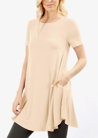 Round Hem Flared Sand Tunic Top