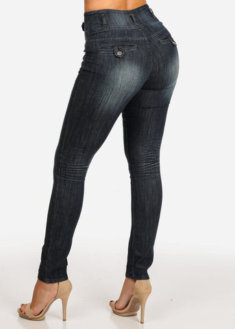 Stylish Trendy High Rise Dark Wash 3 Button Skinny Jeans
