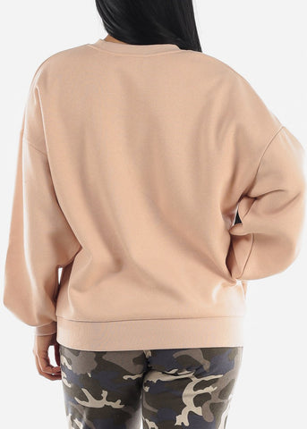 Blush Drop Shoulder Oversized Sweatshirt