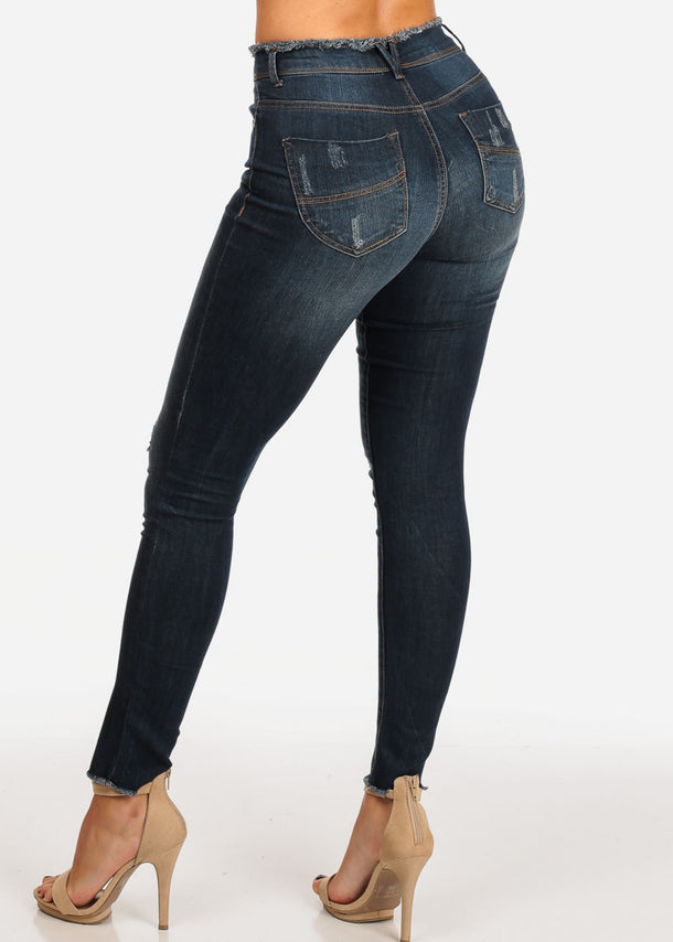 NINE PLANET Dark Wash Distressed Skinny Jeans