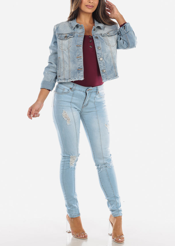 Frayed Light Wash Denim Jacket