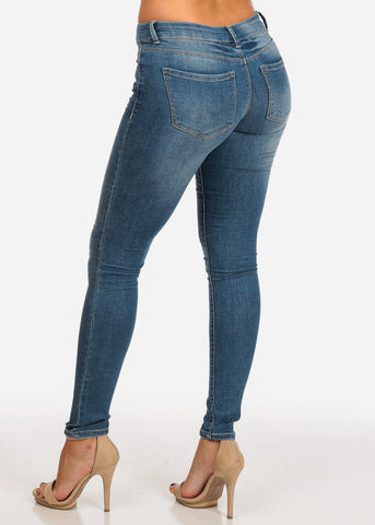 Trendy Mid Rise Med Wash Distressed Skinny Jeans